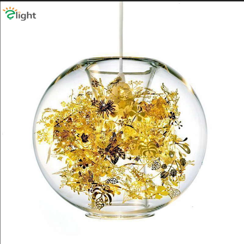 Modern Metal Flower Led Pendant Lights Lustre Glass Bedroom Led Pendant Lamp Dining Room Pendant Light Hanging Light Fixtures modern 3 6 lights crystal glass clear wineglass wine glass ceiling light lamp bedroom dining room fixture gift ems ship