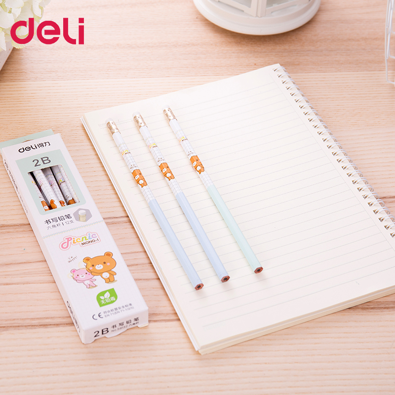 Image 2 - 72pcs kawaii wood pencils 2B HB cute rilakkuma pencil with erasers high quality pencil for school kids writing stationery giftStandard Pencils   -