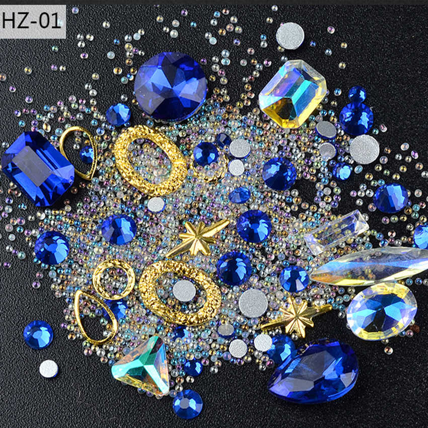 Born Queen Irregular Crystal Nail Rhinestones Glass Mini Beads Gold Metal Rivets Studs UV Gel 3D Manicure Nail Art Jewelry