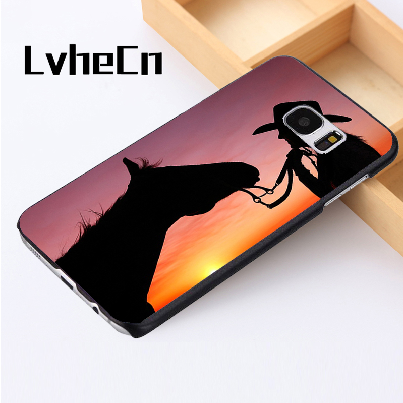 LvheCn phone case cover For Samsung Galaxy S3 S4 S5 mini S6 S7 S8 edge plus Note2 3 4 5 7 8 Cowgirl Horse Sunset