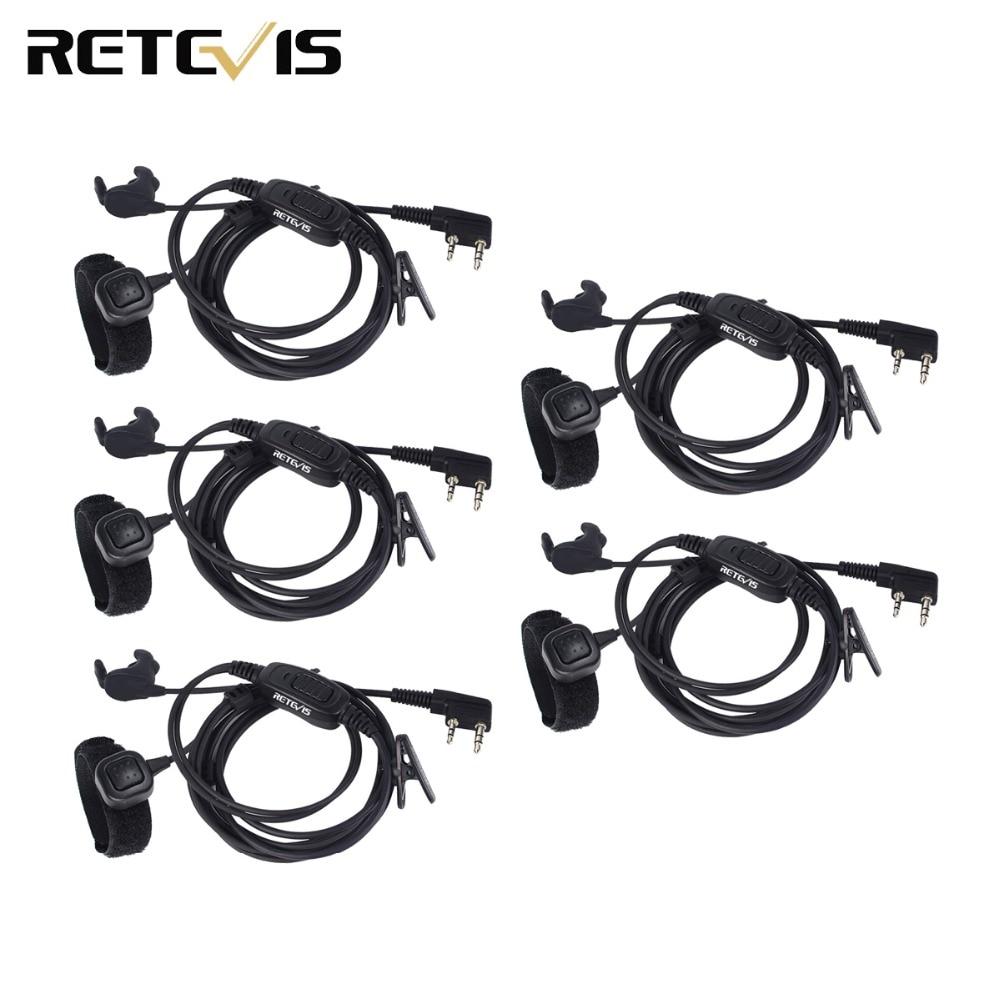 5pcs 2 Pin Earpiece Finger PTT For Kenwood Retevis H777 RT3 RT5 RT8 RT81 Baofeng UV-5R Walkie Talkie C9047A