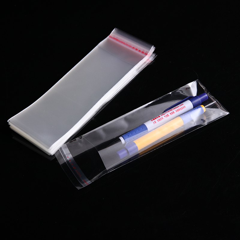 100pcs bag Clear Seal Self Adhesive bolsas de plástico de embalaje x