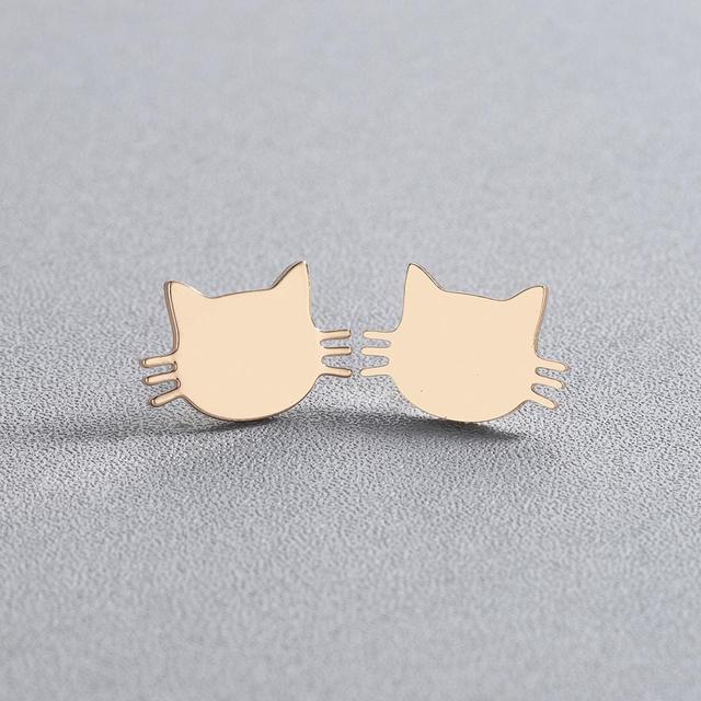 Cute Cat Shaped Stainless Steel Earrings