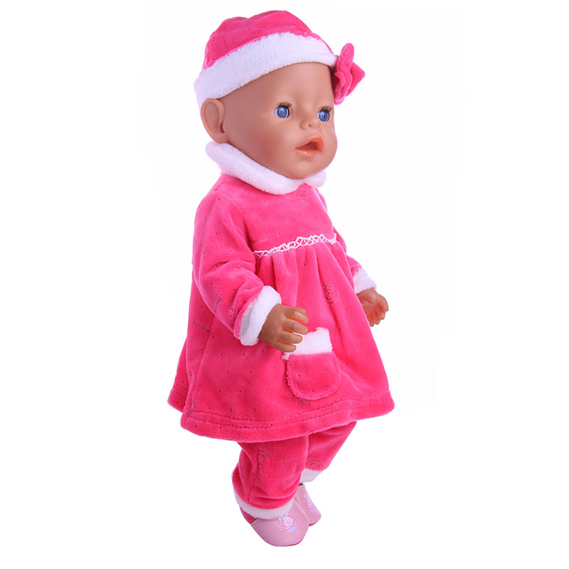 Pink 3pcs Pajamas Doll Clothes Wear Fit 43cm Baby Born zapf Doll,Children best Birthday Gift 2color choose leisure dress doll clothes wear fit 43cm baby born zapf children best birthday gift only sell clothes
