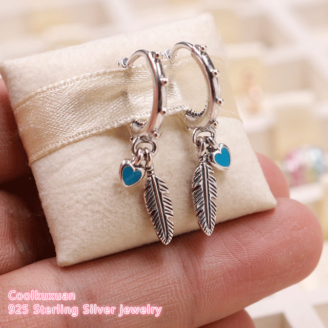 885d74b36 2018 Summer 100% 925 Sterling Silver Spiritual Feathers Earrings, blue  colour Enamel Original European Style Brand Jewelry