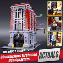 LEPIN 16001 Ghostbusters series the Firehouse Headquarters house Model building blocks Compatible  75827 Minifigures Toys legoe