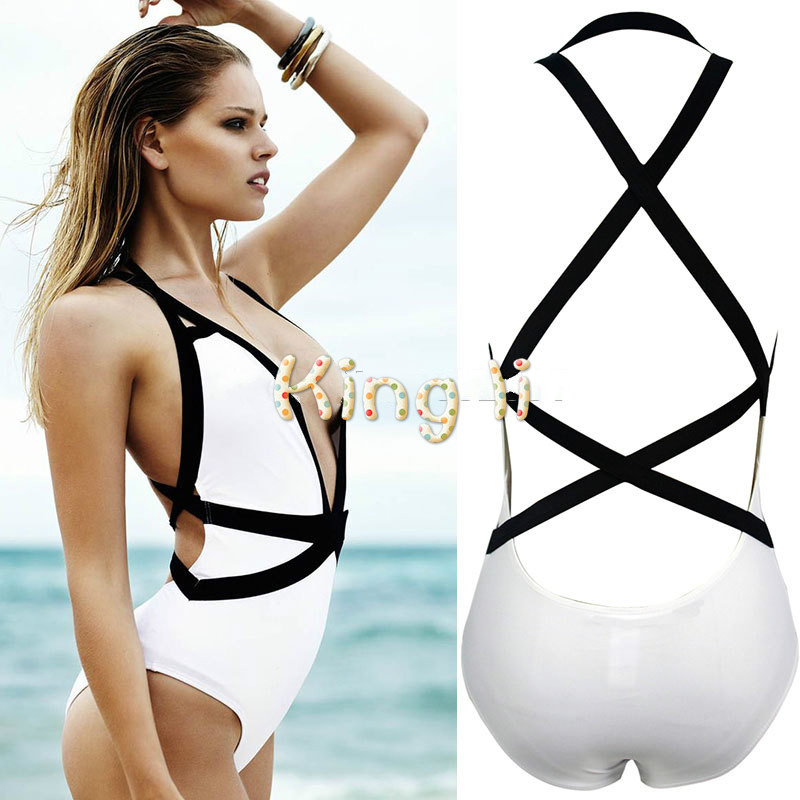 Black and white cut out one piece swimwear women bandage swimsuit monokini one-piece bathing suit maillot de bain femme fashionable strappy printed cut out one piece swimsuit for women