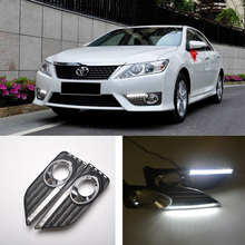 ECAHAYAKU daytime Running Light Fog light High Quality LED DRL car styling for Toyota Camry 2012 2013 driving lamp 12V 24v 6000K 12v 6w 2 xenon white drl fog light lamp for toyota gt86 for s ubaru brz for scion frs12 drl led car daytime running light