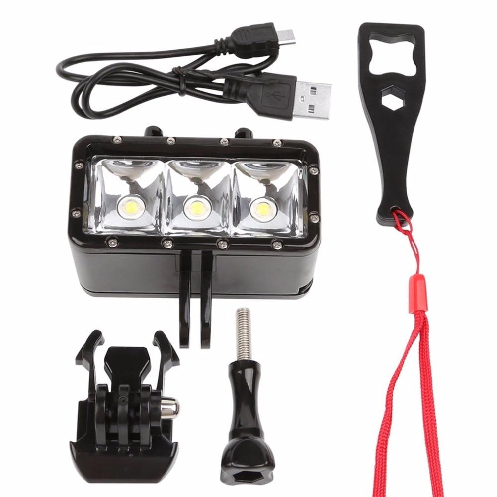 цена на Flash Light Lamp Underwater Diving Waterproof 40m LED Flash Video Light Mount For GoPro SJCAM SJ4000 H9 H9R for Xiaomi Yi Camera