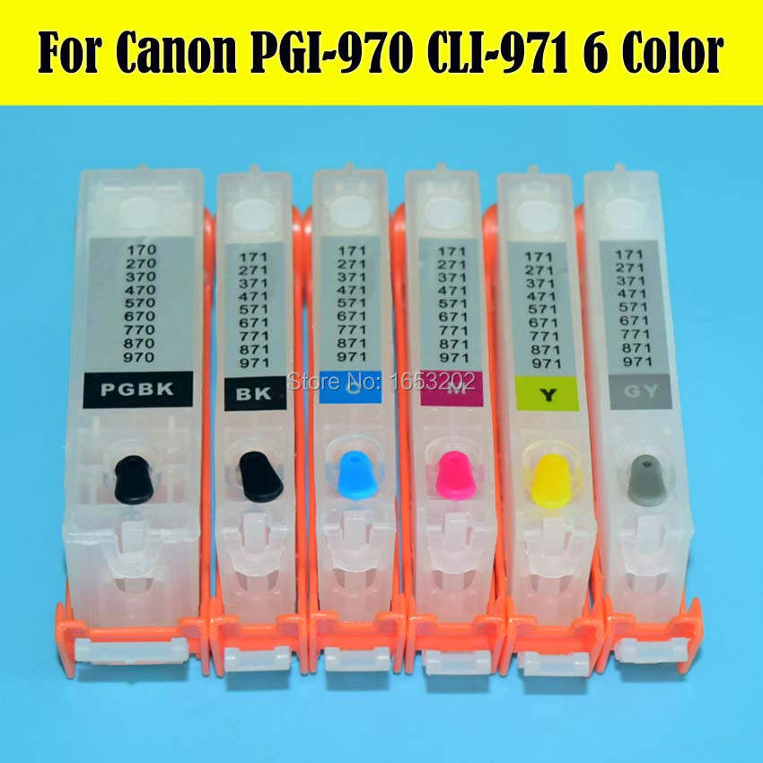 ФОТО 6 Color 970 971 CLI971GY PGI970 CLI971 Ink Cartridge For Canon PIXMA MG7790 Printer With ARC Chip