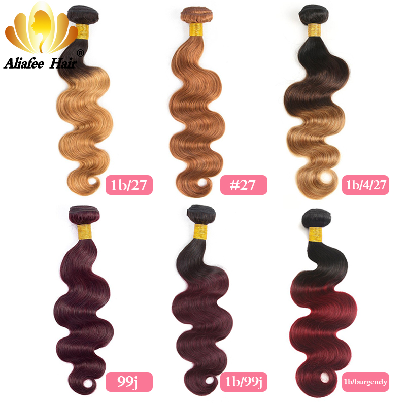 Brazilian Hair Weave Bundles Ombre Body Wave Bundles 1B/99J/#27/Burgundy/#2/#4/Colors AliAfee Hair Non Remy Human Hair Extension mata bor amplas