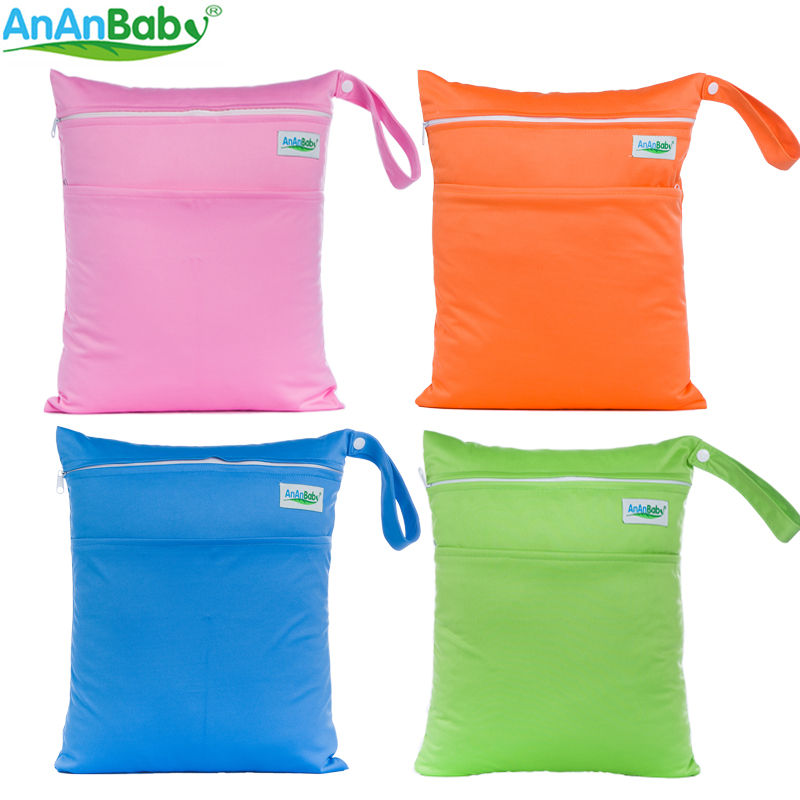 AnAnbaby 1pcs Solid Waterproof Baby Diaper Bag Cloth Diaper Wet Bag Plain Color With Zipper Pockets