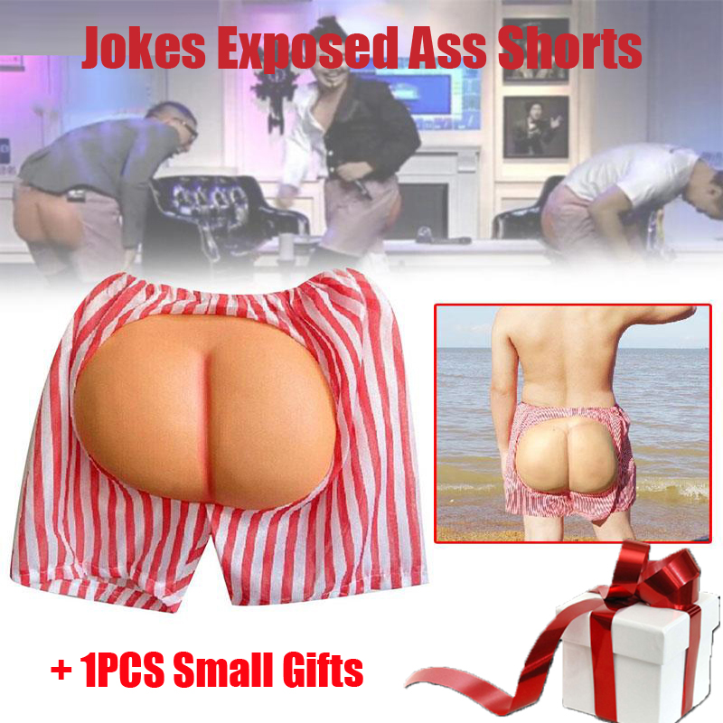 Funny Buttocks Jokes Exposed Ass Shorts With Plastic Fat Ass For Halloween Cosplay Gag Trick Anti Stress Toys Birthday Gift