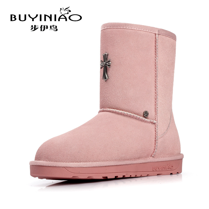 ФОТО 2017 New Arrival Metal Cross Charms Snow Boots for Women Winter Boots with Fur Shoes Good Quality Botas Femininas Zapatos Mujer