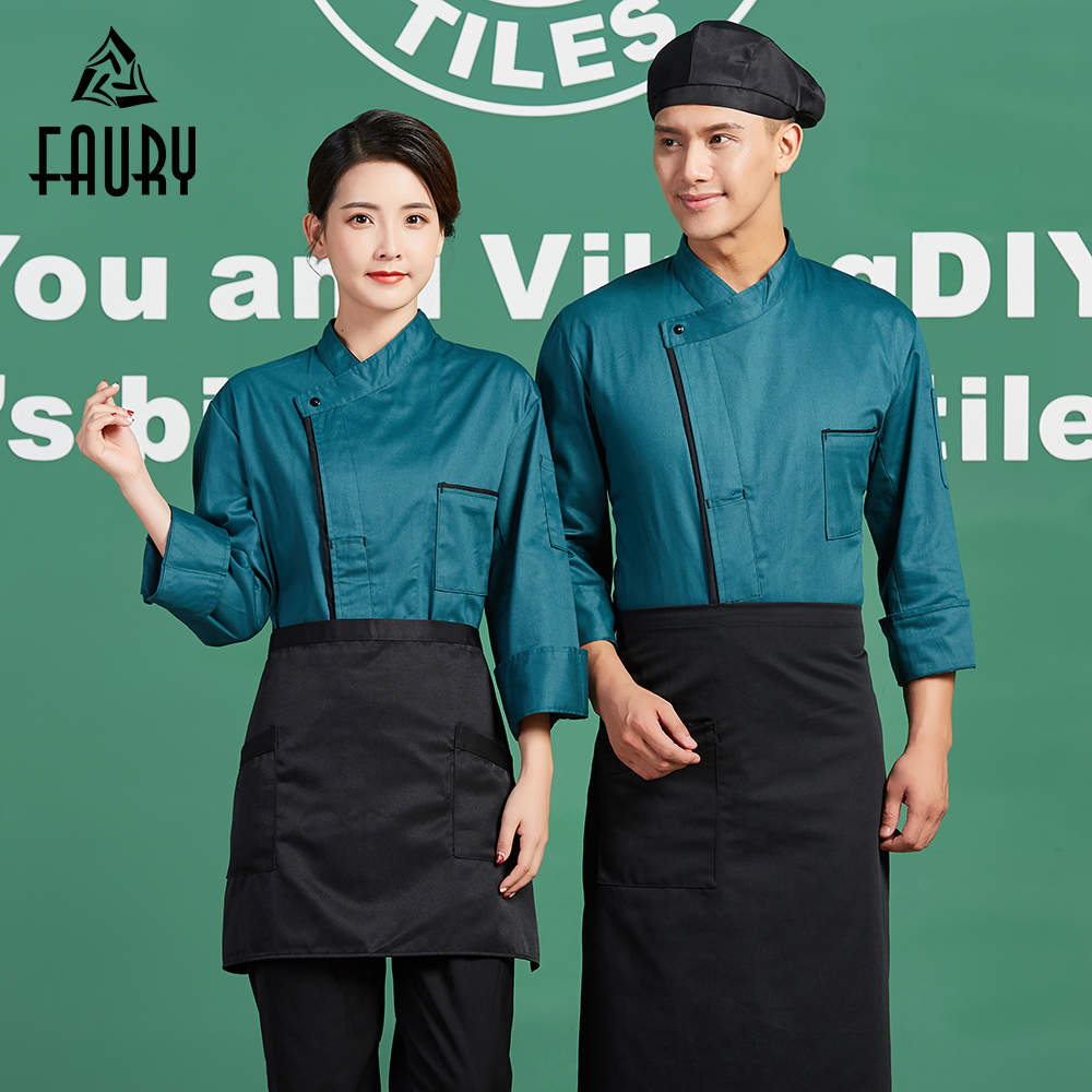 High Quality New Arrival Men's Restaurant Work Uniforms Long Sleeve Women Cafe Bakery Waiter Coat Kitchen Cooking Chef Jackets