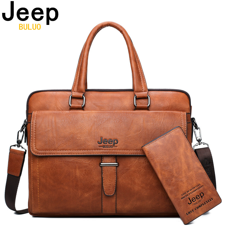 JEEP BULUO Men Briefcase Bag For 14 Inch Laptop Business Bags 2 Pcs Set Handbag Large Capacity Leather Office Bags Business Trip