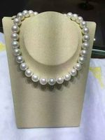 18 Huge AAA 12 13mm freshwater Round white pearl necklace 14K WHITE GOLD CLASP