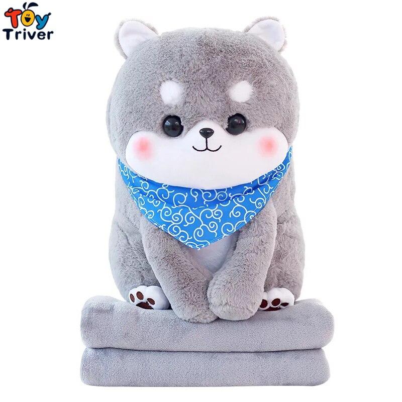 Plush Japan Sitting Mameshiba Sankyoudai Loyal Dog Shiba Inu Dogs Blanket Baby Shower Car Air Condition Travel Rug Office Carpet cartoon dog plush pillow shiba inu