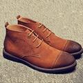 Europea de invierno Martin botas de cuero de gamuza para hombres de vuelta de alta para los hombres de la cachemira botas