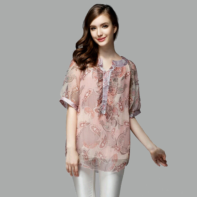 f3929831347b98 REAL SILK blouse Women half sleeve CHIFFON PRINT floral Blusas femininas  camisas loose polo SHIRT Plus size 2015 NEW Summer