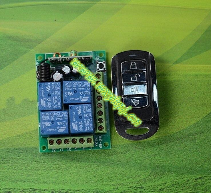 AC 12V 4CH RF Wireless Remote Control System 433mhz home automation ...