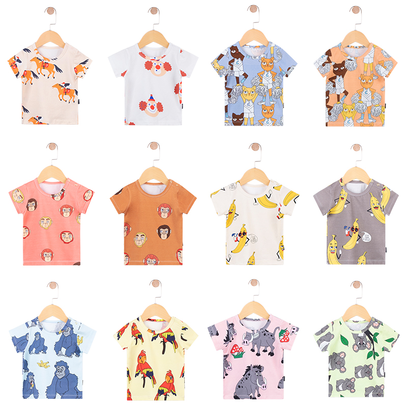 TinyPeople 2019 New Fashion Baby T-shirt Boys Summer Clothes Cotton Cartoon Print Girls Cute Short Sleeve Coat Kid Clothes Gift