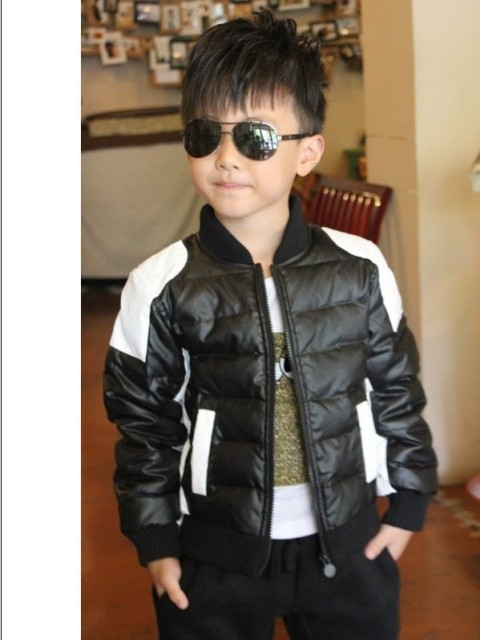 Free shipping The new winter clothing fashion winter boy black and white color matching jacket cotton-padded clothes
