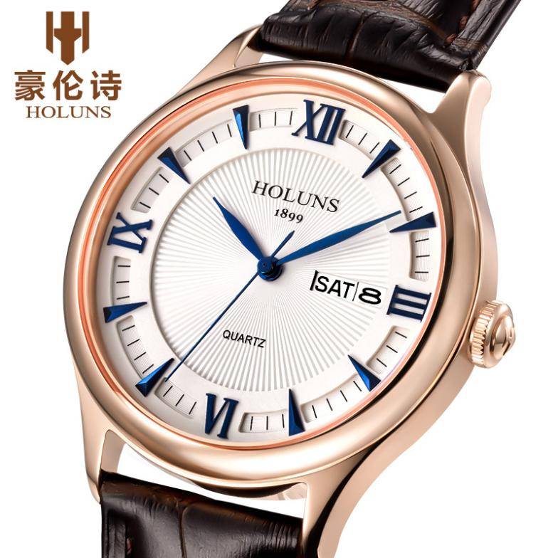 Luxury HOLUNS men Stainless Steel watch quartz Sapphire glass watch men's leather strap watch relogio masculino holuns watch women sapphire glass white dial quartz waterproof multicolor red leather strap watch