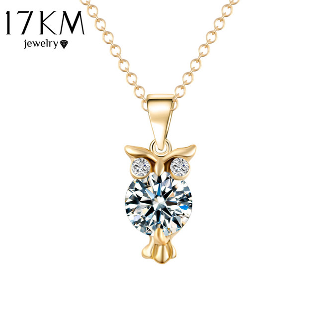 2019 New Zircon Pendants Owl Necklace For Women Crystal Heart Gold Sliver Color Long Necklaces Fashion Jewelry Christmas Gift 2
