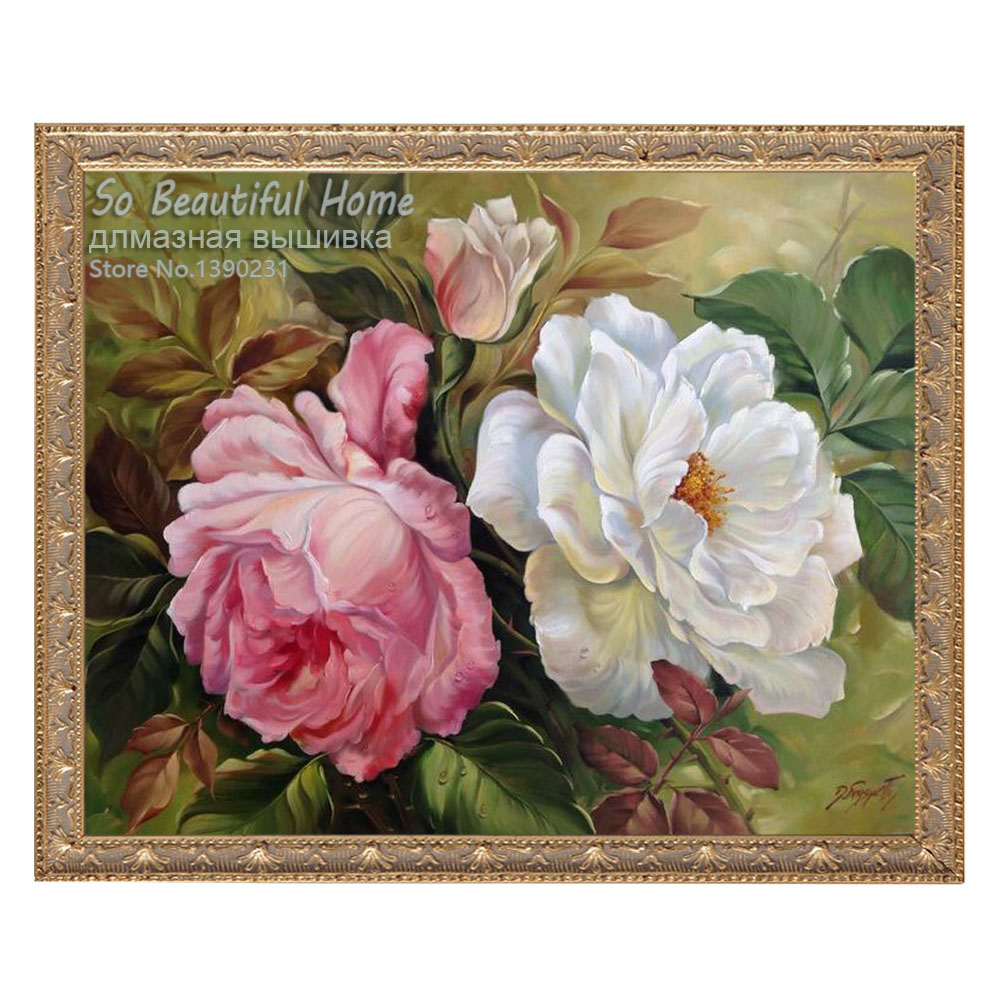 Beauty Peony Flower Diy Diamond Painting Pattern Cross Stitch Full