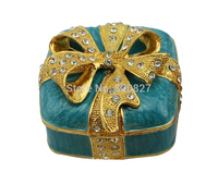 Antique Square Pewter Jewelry Box With Jeweled Knot Bow 7 3 7 3 5 Cm L