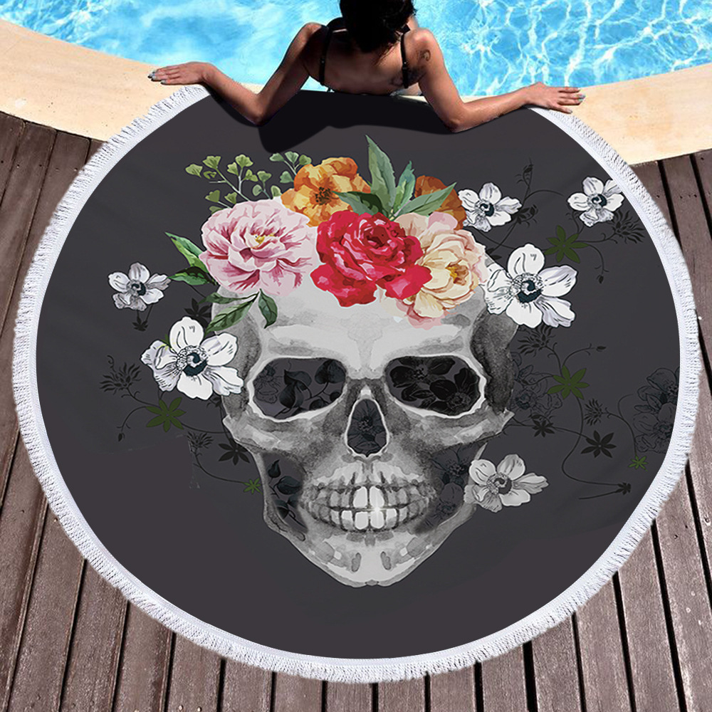 Sugar Skull Round Microfiber Beach Towel Circle Tassels Large Beach Towel Terry Cloth Wall Tapestry Yoga Towel Bath Toalla Playa in Bath Towels from Home Garden
