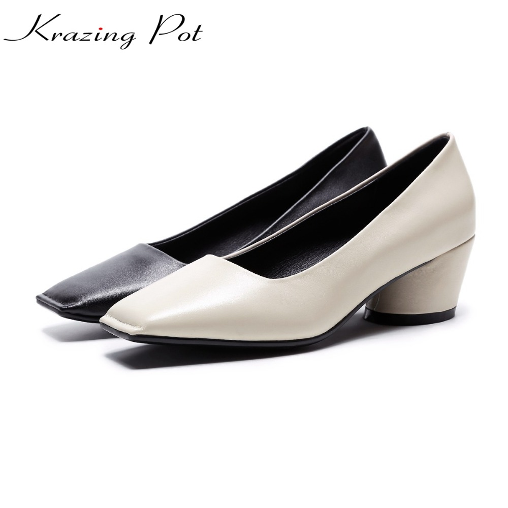 krazing Pot genuine leather thick med heels gladiator closed square toe basic office lady solid beauty cozy lazy pumps woman L56 krazing pot shoes women rivets fashion genuine leather square toe lazy style med thick heels slip on hollow pumps lady shoes l50