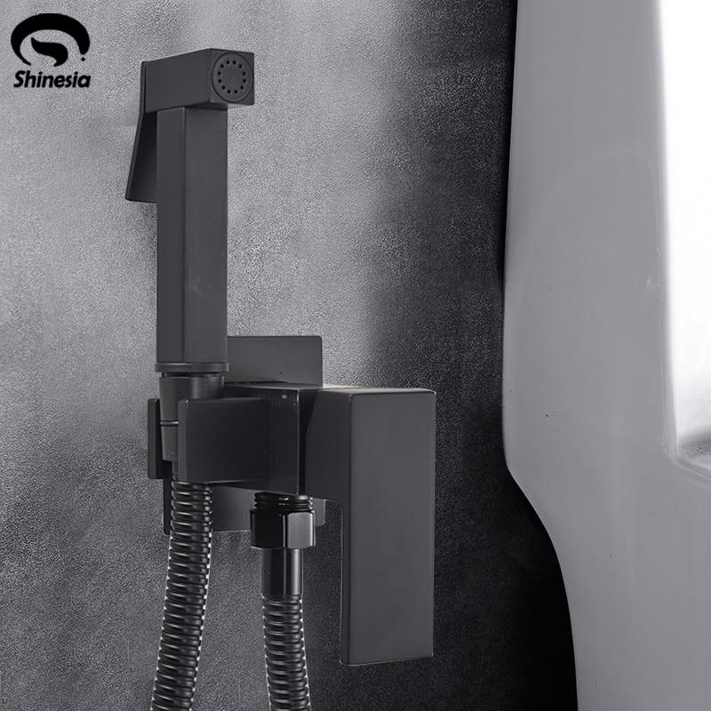 black Handheld Bidet Spray Black Shower Sprayer Set Toilet Shattaf Sprayer Douche kit Bidet Faucet 304