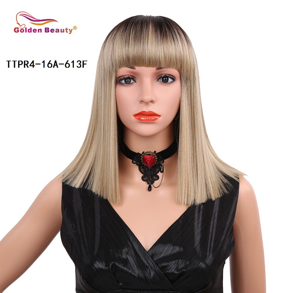 14inch Silky Long Straight Synthetic Hair Wig Mixed Color Blue Blonde Wine Red Cosplay Natural Bob Wigs for Women Golden Beauty