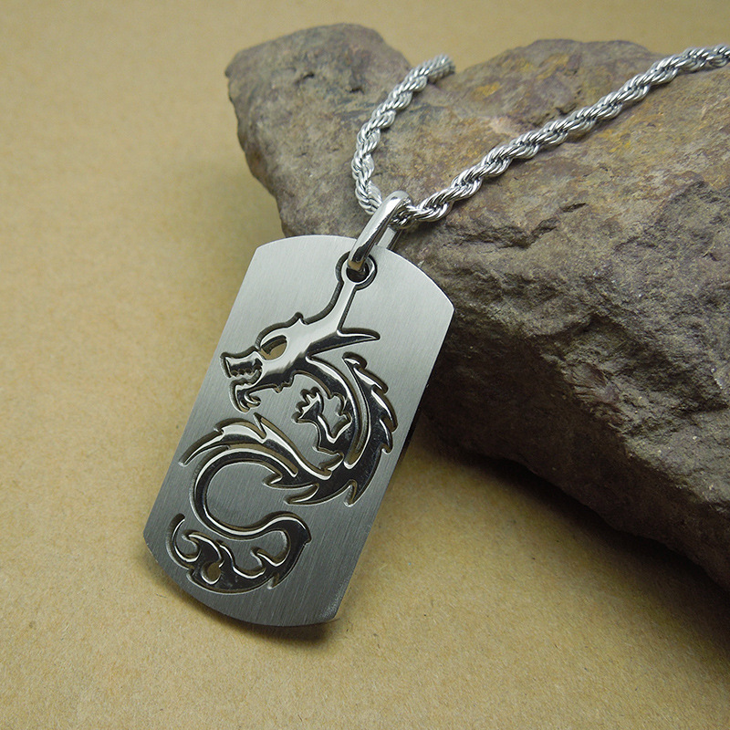 Men fashion jewelry titanium steel dog tag necklace for teen boy men fashion jewelry titanium steel dog tag necklace for teen boy unique cool dragon pendant mens necklaces punk rock jewelry dlq in pendant necklaces from aloadofball Choice Image