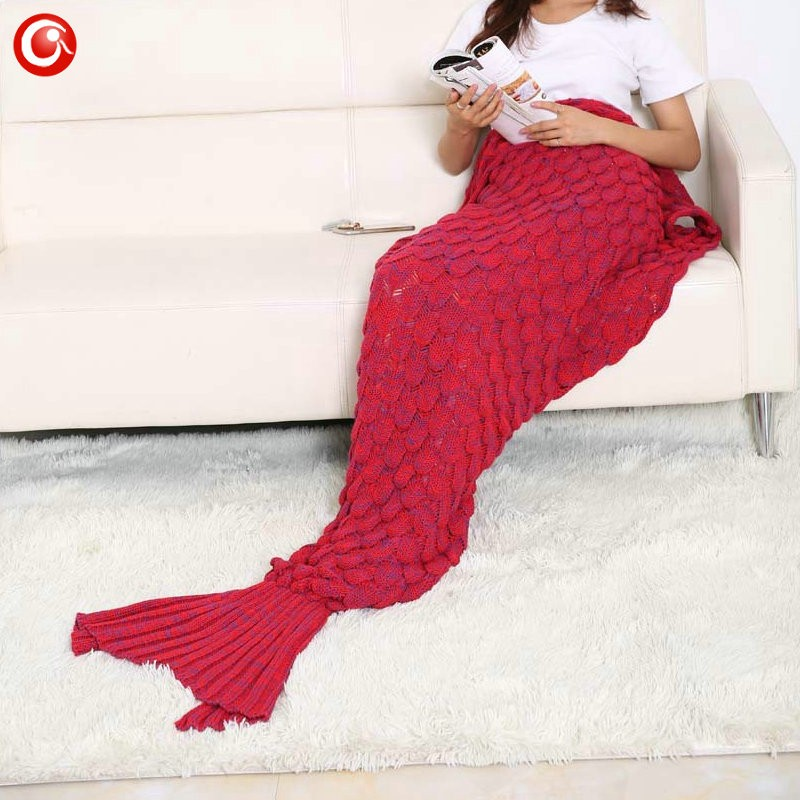 Baby Knitted Crochet Mermaid Blanket For Mother&Baby Infant Newborn Handmade Bed Wrap Throw Sleeping Bag Soft (20)