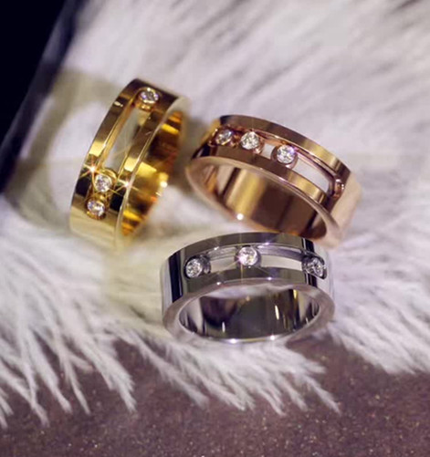 2017 Latest designs luxury brand replica stainless steel jewelry fashion  rings move ring for wedding gifts rose gold silver gold 1303459886dc