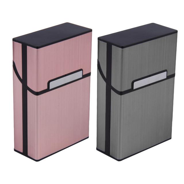 2 Colors Cigarettes Slim Aluminum Cigarette Case Cigar Tobacco Holder Pocket Box Storage Container Gift Box Smoking