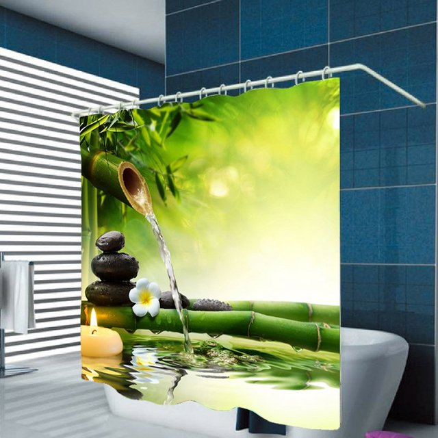 Digital Printing Polyester Bamboo Shower Curtain Zen Garden Theme Decorating Natural For Bathroom Waterproof