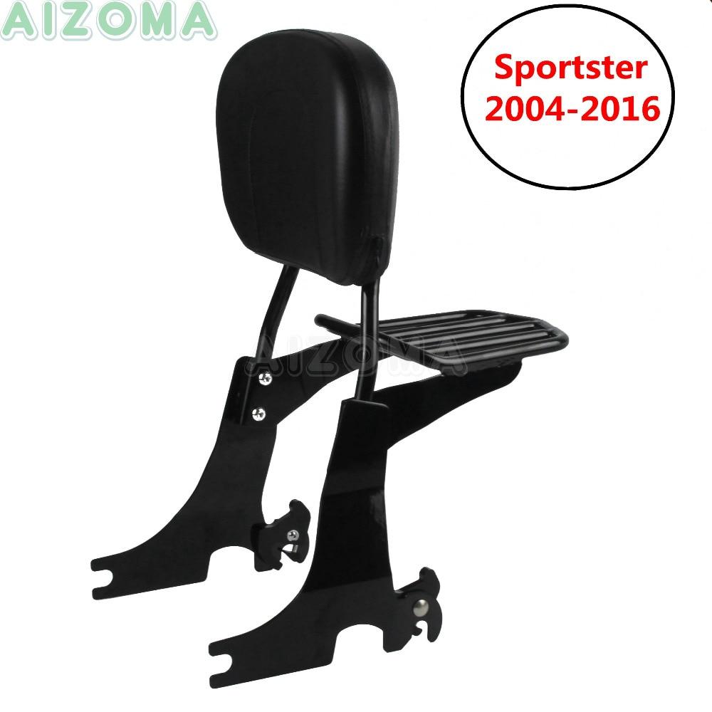Motorcycle Sissy Bar Backrest Detachable Luggage Rack w Passenger Pad for Harley Sportster XL883 XL1200 48