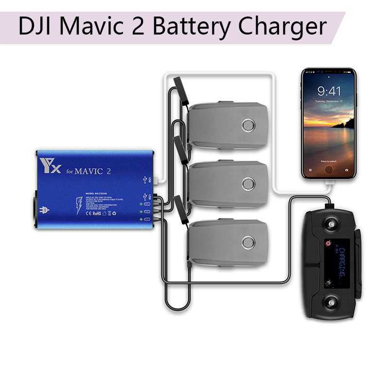 DJI Mavic 2 Drone Battery Charger 5in1 Charging Hub for DJI Mavic 2 Zoom/Pro Intelligent Battery Car Charger Adapter Accessories