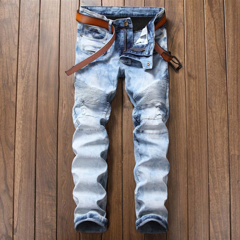 Ripped Hip hop Jeans For Men Fashion Swag Biker Skinny Jeans Light Blue Brand Motorcycle Denim