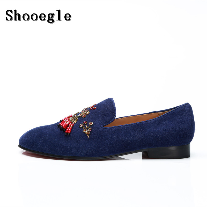 c90ebe74435f SHOOEGLE Newest Men Luxury Patent Leather Loafers Flats String Bead  Embellished Wedding Shoes Diamonds Floral Party Dress Shoes