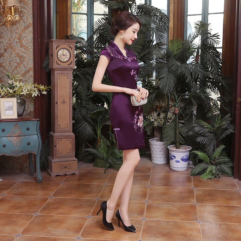 Elegante bordado flor Mini Qipao 2019 verano encaje Sexy Cheongsam púrpura Vintage baja División vestido chino Oversize S-6XL - 4