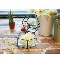 Altı yüzler metal cam kutu saksı yetiştiricilerinin metal cam tencere masaüstü dekorasyon Geometrik vazolar sanat dekor