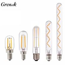 Grensk T30 E14 Bulb Led Dimmable Edison Led Bulb E27 Vintage Filament Bulb 110V 220V 1w 2w 3w 4w 6w Tubular Antique Lamp T20 T25