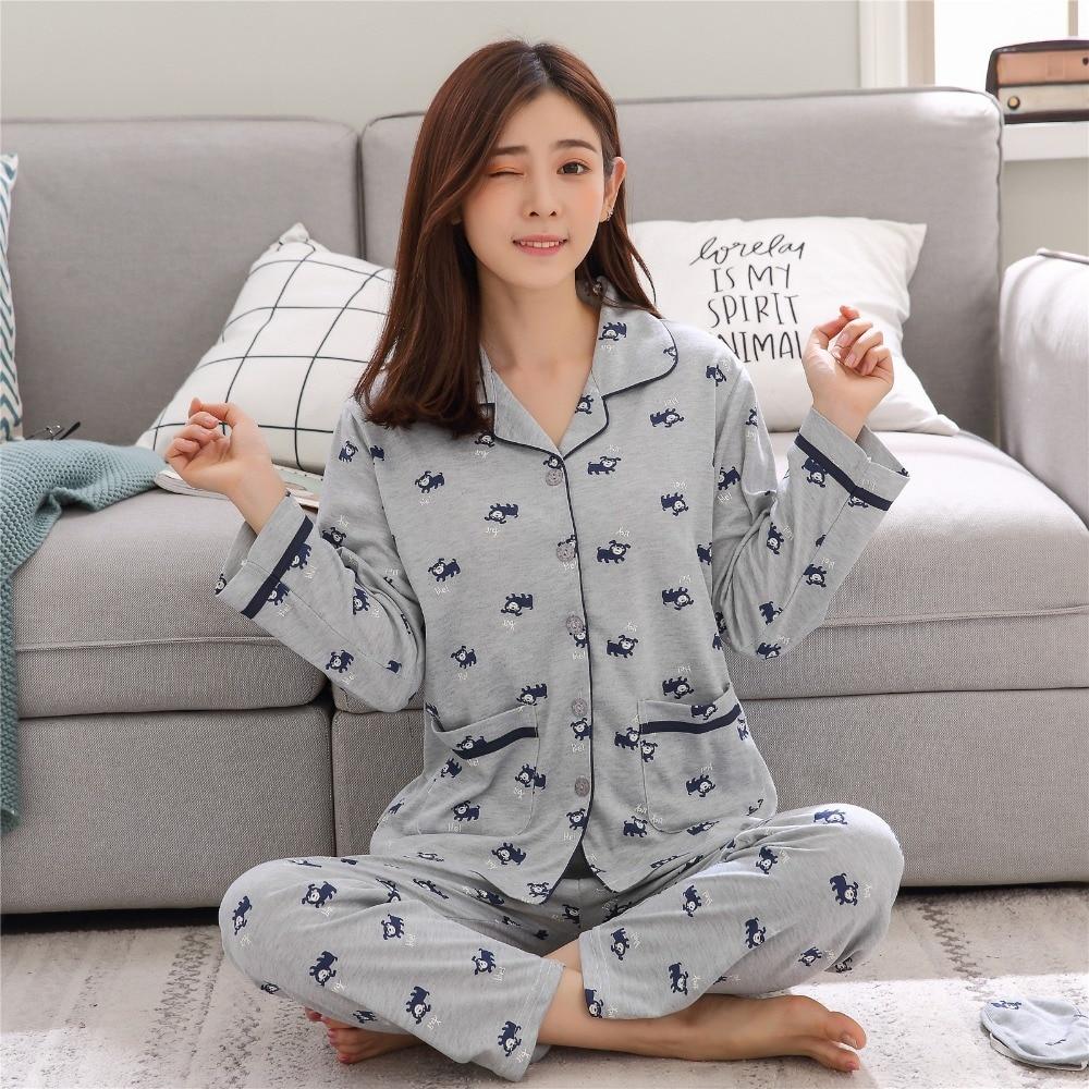 Women's Cotton Pajamas Sets Long Sleeves Nightgown Monkey Pattern Sleepwear For Ladies In Autumn Satin Pyjamas Nightwear Female