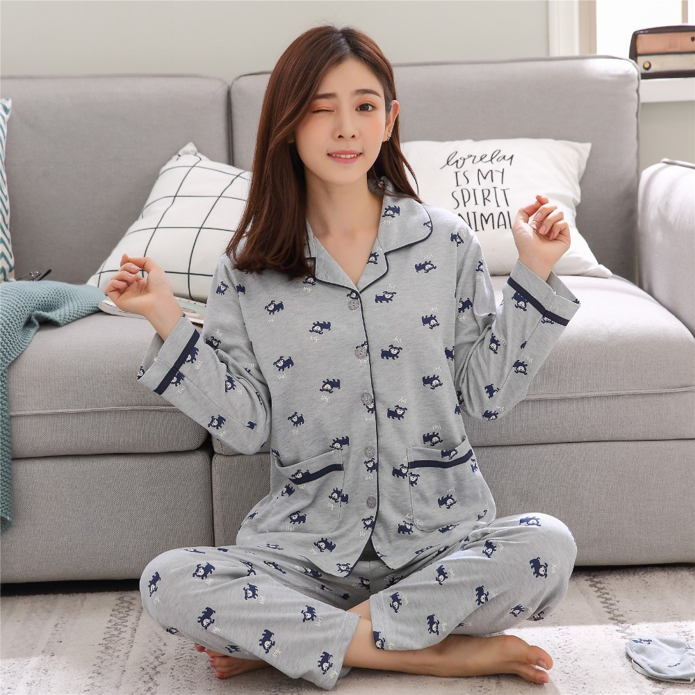 Women's Cotton   Pajamas     sets   Long Sleeves Nightgown Monkey Pattern Sleepwear For Ladies In Autumn Satin Pyjamas Nightwear Female