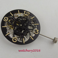 17 Jewels silver Full Skeleton 6497 Hand Winding movement add one 38.9mm dial